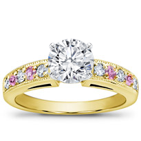 Milgrain And Pave Pink Sapphire Engagement Setting | R2773P