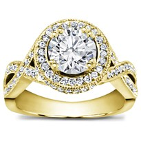 Braided Pave Setting For Round Diamond | R2884