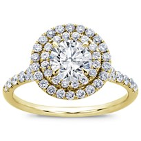 Round Double Halo Split Shank Diamond Ring | R2970