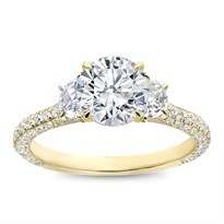 3 Row Pave Half-Moon Engagement Ring Setting | R3122